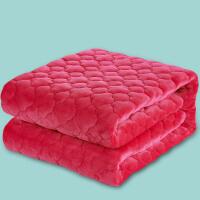 法兰绒毛毯加厚保暖绒毯子小儿童冬季双人珊瑚绒床单单件单人双层 玫红色 夹棉