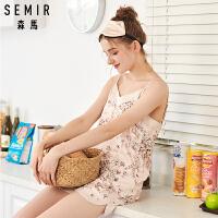 夏季仿真丝家居服女韩版印花少女吊带短裤两件套女士冰丝性感睡衣