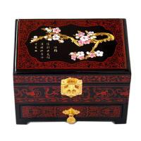 推光漆器首饰盒木质带锁结婚多层复古实木新娘