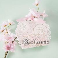 欧式婚礼喜糖盒创意结婚用品糖果礼盒纸盒小号礼盒粉色镂空糖果袋 100份 100份