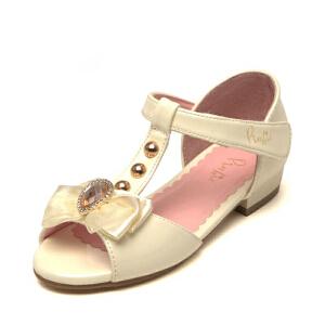 鞋柜shoebox/苹绮夏季女中童凉鞋迷人闪钻蝴蝶结装饰公主鞋小皮鞋
