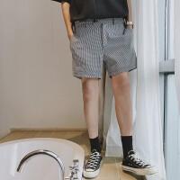 2018夏天韩版百搭格子修身简约千鸟格短裤搭扣韩风男生薄款中裤