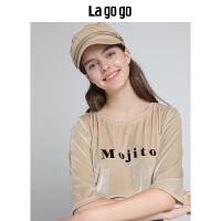 【5折价84】Lagogo/拉谷谷2018年秋季新款时尚字母植绒T恤衫HCTT418A04