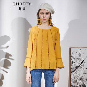 海贝2018春装新款女 休闲喇叭袖长袖圆领黄色衬衫小衫套头衫
