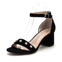 菲伯丽尔(Fondberyl) 专柜同款羊皮革珍珠一字带方头粗高跟凉鞋FB82115008