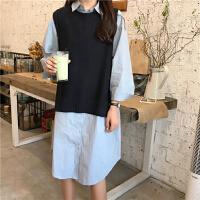 长款衬衫女春秋韩版文艺学生过膝连衣裙+毛线针织马甲套装两件套