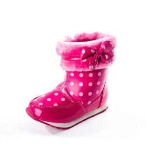 SHOEBOX/鞋柜 冬季女童可爱蝴蝶结中筒靴子 加绒家厚女孩棉靴子