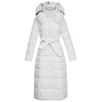 羽绒服女款中长款2018冬季韩版修身大毛领加厚长款过膝时尚白