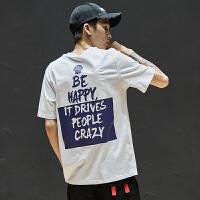 简约字母图案短袖t恤男夏季情侣百搭纯棉T恤潮牌学生短tee