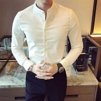 春夏新品英伦中国风 立领纯色长袖衬衫男商务休闲衬衣圆领