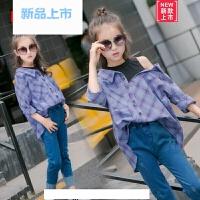 女童衬衫春装2018新款儿童露肩假两件衬衣小女孩春秋洋气长袖上衣