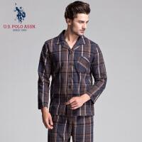 睡衣男士春秋新品纯棉长袖翻领梭织格子利发国际lifa88服套装U.S.POLO ASSN