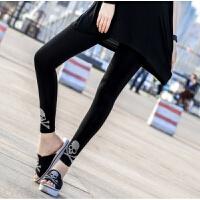 20180402232212124骷髅头打底裤女士夏季莫代尔薄款高弹修身显瘦时尚 黑色 均码