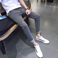 2018潮流九分牛仔裤男小码26 27码修身小脚裤春季青少年弹力韩版