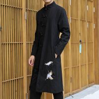 中国风唐装秋季男装复古中青年长衫民国中式古装改良汉服男士外套 (仙鹤刺绣)