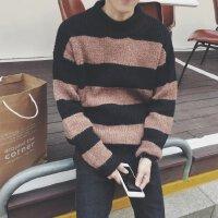 新款@文艺秋季毛衣男士领针织衫韩版潮学生秋装外套长袖线