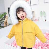 女宝宝外套秋冬加绒连帽中长款女童棉衣1-3岁4洋气儿童大毛领