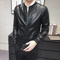 男士机车皮衣韩版修身秋季潮流帅气PU皮夹克青年休闲短款外套