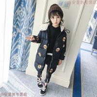 童装女童棉衣新款冬装韩版中大童羽绒加绒加厚中长款棉袄 黑色