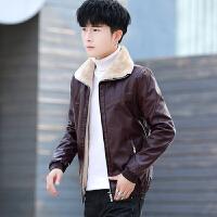 冬季棉袄子冬装皮毛一体潮流加绒加厚皮衣服男士夹克外套