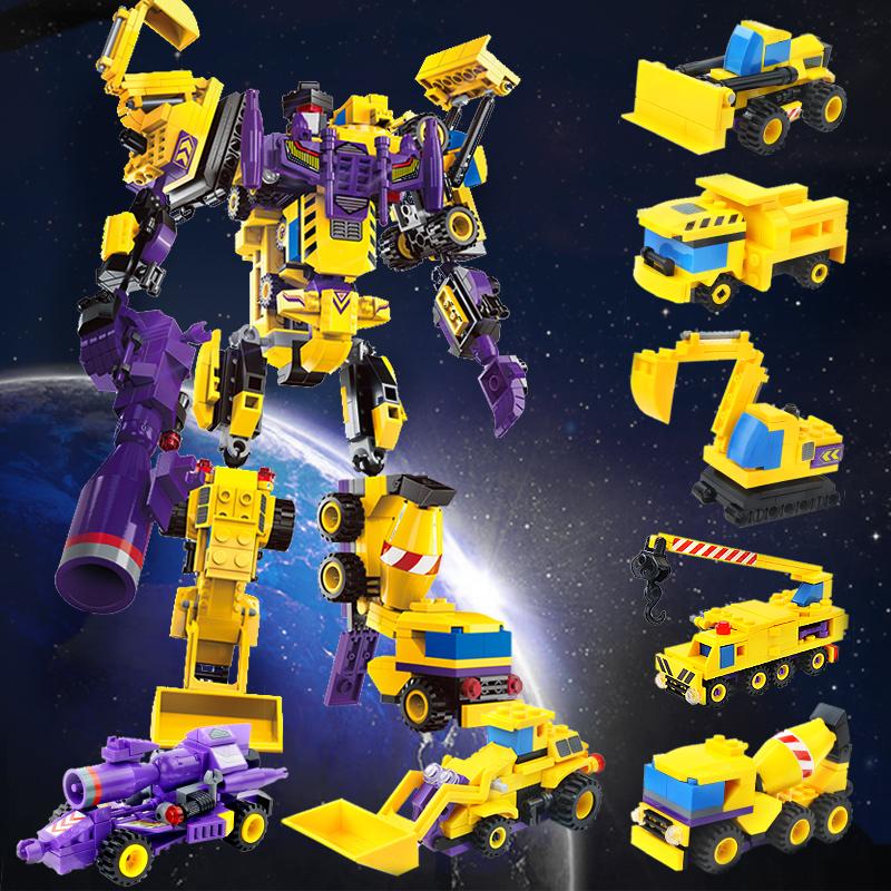启蒙 乐高式拼装积木 创世者战神七合一 变形金刚机器人汽车模型 塑料益智拼插男孩智力玩具礼物益智玩具限时钜惠