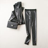 秋冬装新款时尚百搭高腰弹力PU修身显瘦打底裤