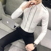 春装条纹拼接男士长袖衬衫韩版修身时尚发型师夜店少爷帅气衬衣潮