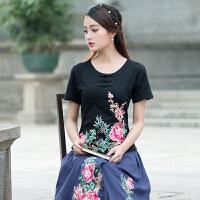 中国风女装上衣夏季新款纯棉民族风圆领刺绣花短袖修型大码T恤