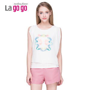 Lagogo/拉谷谷2015夏季印花个性袖口镶钻宽松百搭上衣