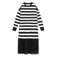 条纹针织连衣裙女秋冬装2018新款韩版宽松中长款毛衣裙子过膝长裙
