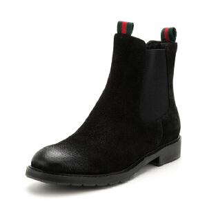 星期六(ST&SAT)冬季专柜同款冬季牛皮革方跟圆头时尚短靴SS74116557