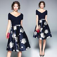 夏季新款女装气质淑女裙拼接一字领修身收腰印花连衣裙