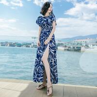 夏季新品女装修身显瘦开衩连衣裙长裙波西米亚海边度假沙滩裙 图片色XZA628