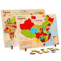 木质地图拼图世界地图益智力拼图早教幼儿园儿童积木质拼插配对玩具