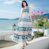 夏季新品女装收腰无袖雪纺连衣裙长裙波西米亚海边度假沙滩裙 图片色X629