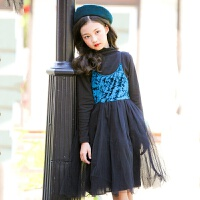 2019 新款韩版吊带裙女童连衣裙夏中大童网纱拼接公主裙