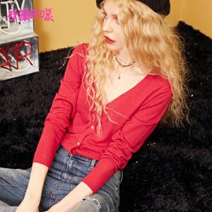 【2件3折到手价:104】妖精的口袋开衫女薄红色外套短款秋装新款女基础针织衫