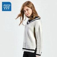 [秒杀价:43.9元,新年不打烊,仅限1.22-31]真维斯女装 冬装新款 假两件宽松长袖毛衣