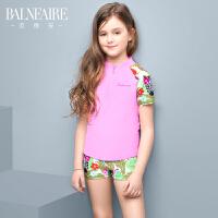 范德安新款短袖防晒儿童分体泳衣中大童可爱女孩平角学生运动泳衣