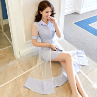 连衣裙夏装2018新款女中长款学院网纱蓝白条纹衬衫裙子