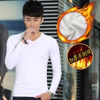 冬款青年男士黑色保暖内衣纯棉灰色加绒加厚V领白色上衣单件外穿