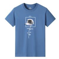 男装夏季 男士短袖T恤雾霾蓝宽松大码潮流字母印花半袖棉09