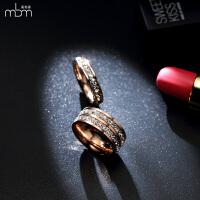 18k玫瑰金双排满钻韩版时尚食指戒指女指环钛钢首饰