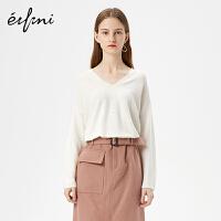 伊芙丽冬装新款韩版V领长袖打底衫薄款白色针织衫女毛衣