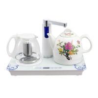 保温功夫茶自吸式抽水泡茶器家用自动上水壶陶瓷电热水壶 白色
