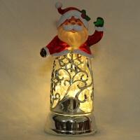 水晶圣诞老人镂雕 LED发光飘雪摆件 定制*女友465 23*16.5*33