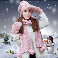 韩版冬天可爱保暖女士毛线帽子围巾手套三件套装一体圣诞生日礼物