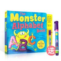 英文原版 The Monster Alphabet Book 怪物字母学习书 附送可擦写笔 A to Z 精装 启蒙儿