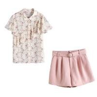 洋气短裤套装显瘦女夏季2018新款时尚雪纺衫上衣配社会俏皮两件套 图片色