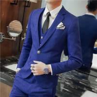 春装新款男士潮流发型师提花西服套装韩版修身青年免烫两件套装